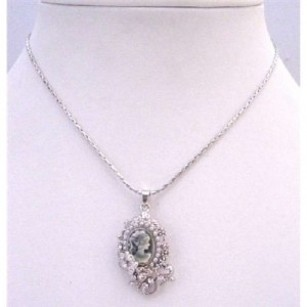 Jewelry Grey Cameo Pendant Vintage Necklace Flower & Crystals