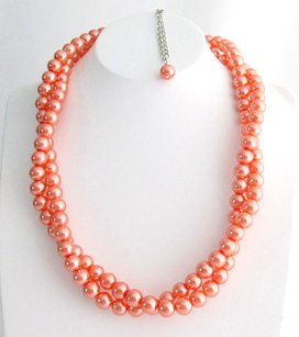 Orange Pearl Necklace Chunky Necklace Twisted Necklace Orange Pearl