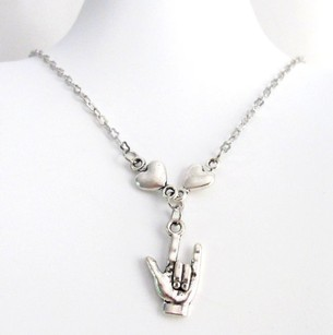 Asl I Love You Charm Necklace I Love You Sign Language Necklace, Sign