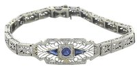 Vintage,Antique,Art,Deco,Platinum,14k,White,Gold,Synthetic,Sapphire,Bracelet