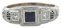 Vintage Edwardian 14K Yellow White Gold 0.30ctw Sapphire Diamond Ring 2.2 Grams