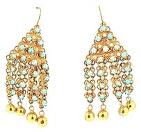 Vintage,14k,Yellow,Gold,Turquoise,Drop,Earrings,14.1grams,2.25,Long,