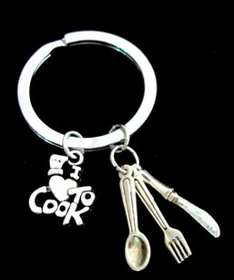 Chef Gift Cooking Keychain Chef Keychain I Love To Cook Keychain