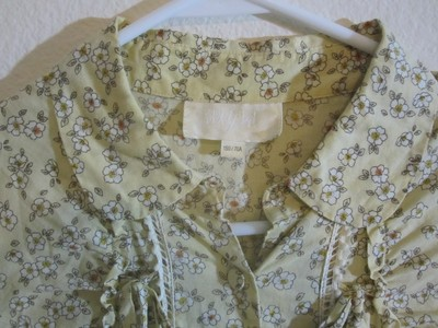 Lady's House short dress Yellow, Beige Cotton Belted Print Floral Vintage Classic on Tradesy