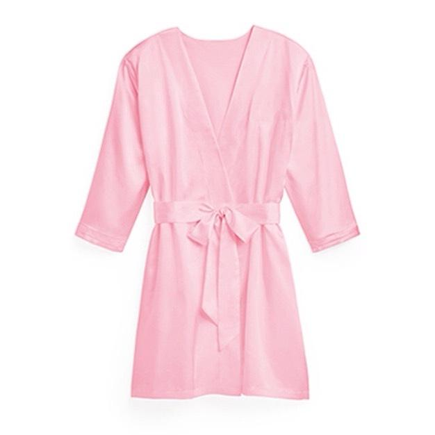 Light pink bridesmaids kimono robe silky satin (knot shop)