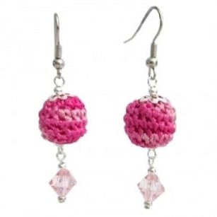 Affordable Earrings Pink Crochet Bead Accented Glass
