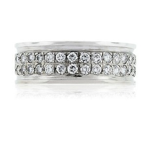 14kt White Gold Two Row Pave Set Mens Diamond Wedding Band