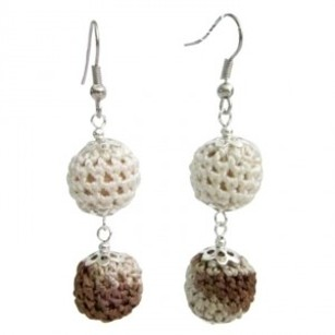 Crochet Earring Collective Design Combo Brown & Ivory Beads