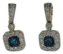 10k,Ladies,Yellow,Gold,.66,Ct,Blue,Solitaire,White,Diamond,Dangle,Earrings,Hoops