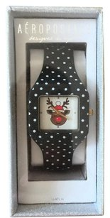 ☀️ NEW Aeropostale Reindeer Watch Black White Polka Dot Holiday Christmas