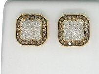 10k,Mens,Ladies,Yellow,Gold,1,Ct,Champagne,Brown,Diamond,Square,Earrings,Studs