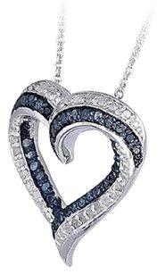 0.50ct TDW Treated Blue & White Diamond Open Heart Necklace in Brass