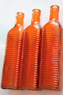 10 Orange Glass Bottles Vases Bud Vases 10