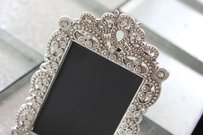 15 Vintage Style Jeweled Rhinestone Frames Gatsby Bling Silver Diamond Chalkboard Table Number Frame Ornate Picture