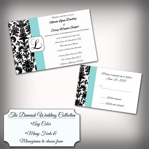 100 Custom Personalized Damask Monogram Wedding Invitation Kit Any Color