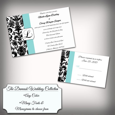 damask monogram wedding invitation kit any color 1795231 wedding