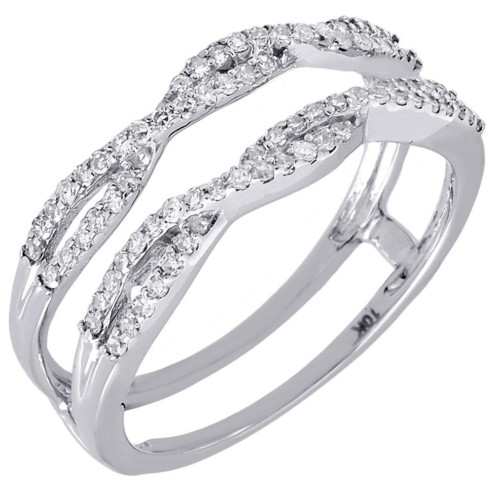 10k White Gold Diamond Solitaire Engagement Ring Enhancer Wrap 036