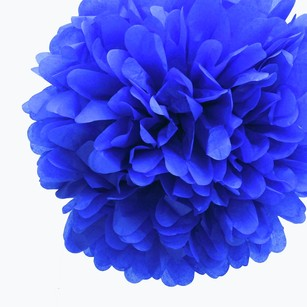 12 Royal Blue Tissue Pom Poms Flower Kissing Balls Pomanders 14