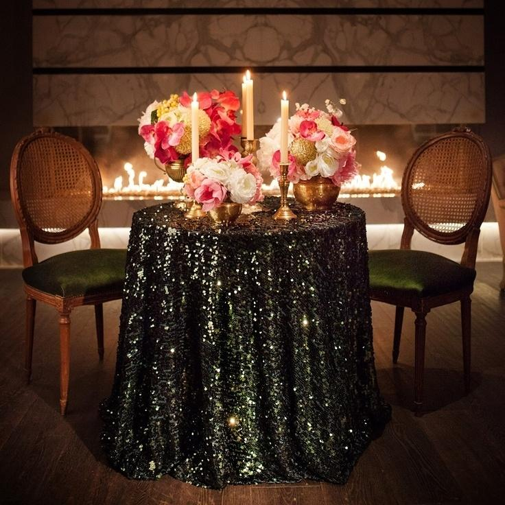 120u0027 round black sequin tablecloth bling glam sparkle wedding clearance