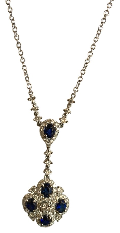 18k white gold blue sapphire and diamond necklace