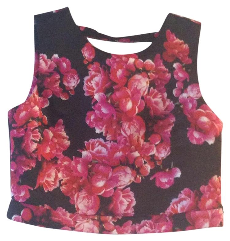 1 State Black And Pink Dressy Floral Crop Blouse Size 4 S Tradesy