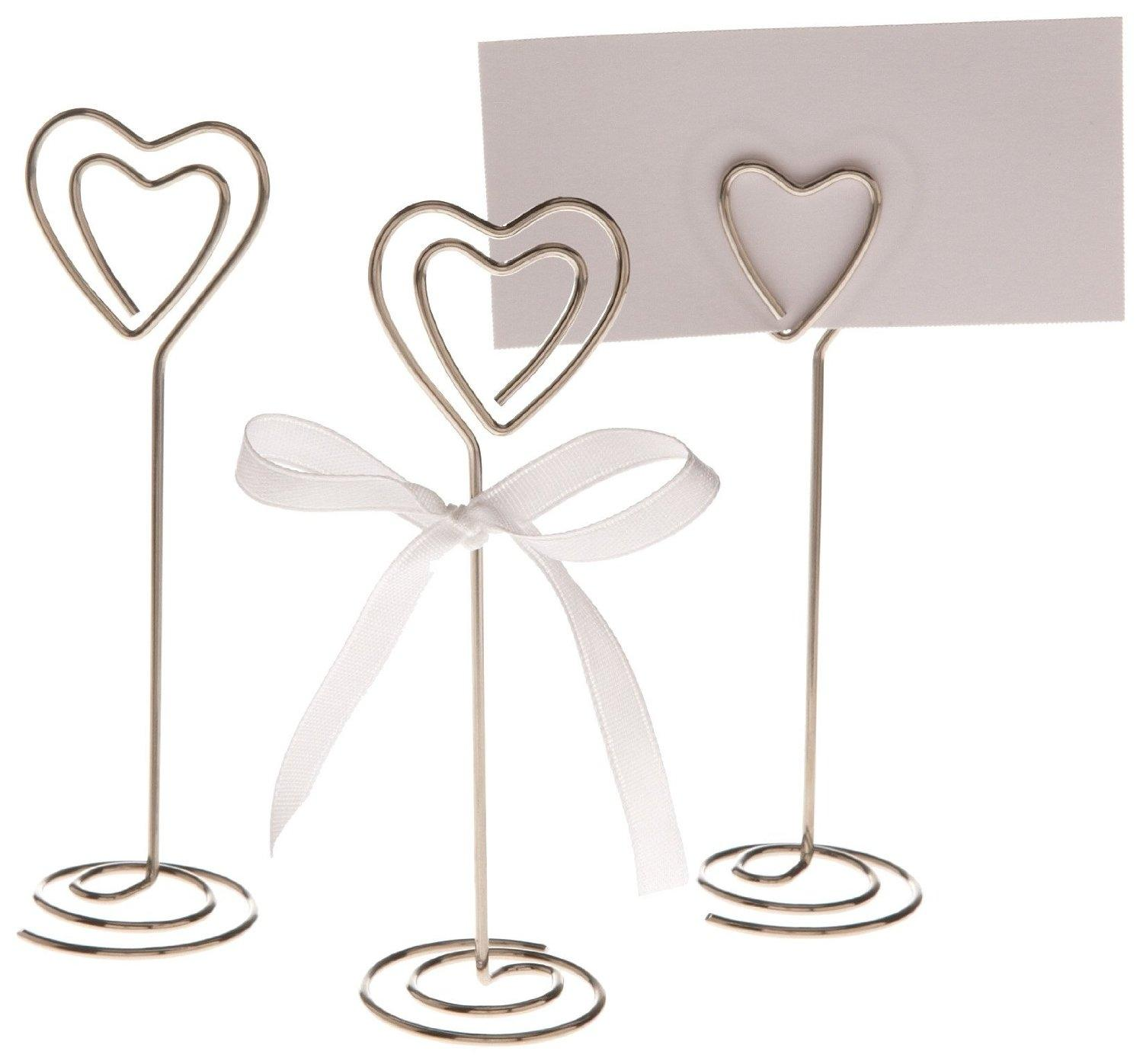 200 silver heart wedding place card holders photo clips table top