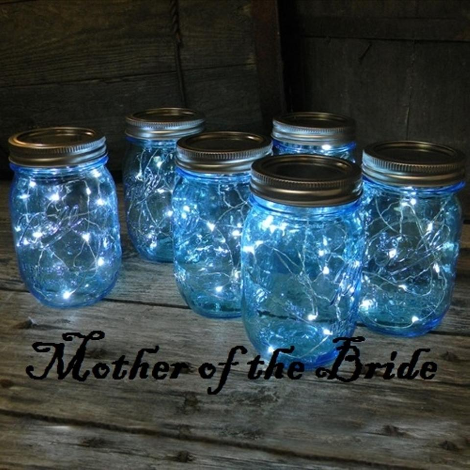 Blue Mason Jars Wedding Ideas: 24 Sparkling Blue Mason Jar Fairy Lights 38% Off