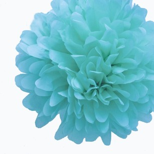 36 Tiffany Blue Tissue Pom Pom Flower Balls Kissing Balls 14