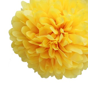 36 Yellow Tissue Pom Pom Flower Balls Kissing Balls Pomanders 14