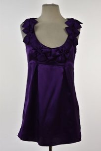 5/48 548 Womens Metallic Sleeveless Formal Polyester Shirt Top Purple