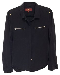 7 For All Mankind Button Down Shirt Black Silk