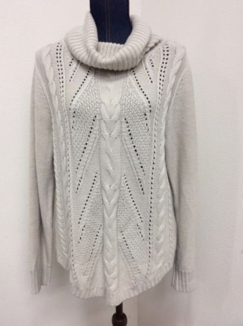 89th & Madison 89th Madison Sweater Womens Off White Cowl Neck Knit Pattern