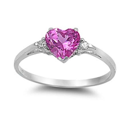 9.2.5 Adorable vibrant pink sapphire heart ring size 7