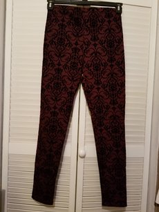 A'GACI Damask Maroon Leggings