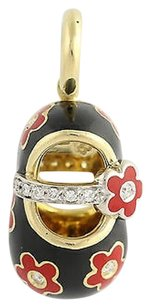 Aaron Basha Aaron Bash Baby Shoe Charm - 18k Yellow White Gold Diamonds Enamel .10ctw