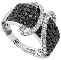 ABC Jewelry 1.32ct. total weight black and white diamond fashion band. This ring is set in 14kt. white gold and weighs 6.7 grams, 15mm wide. Pave set. H-SI2 SKU: 1000572994
