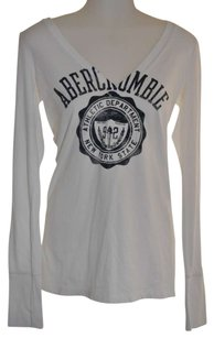 Abercrombie & Fitch T Shirt White with Blue Print