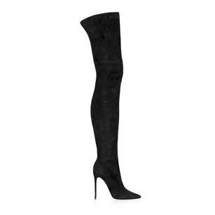 Adela King Over The Knee Suede black Boots