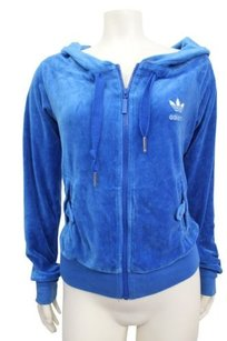 adidas Adidas Womens Athletic Blue Velour Hoodie Full Zip Track Jacket