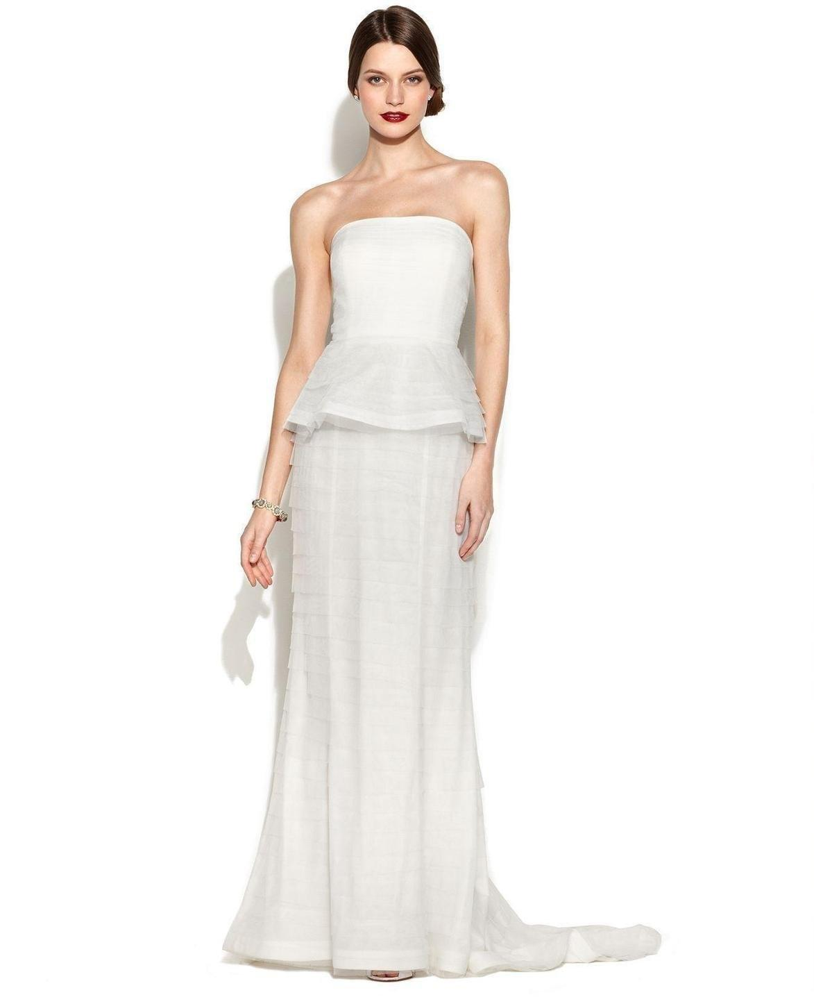 Adrianna Papell Ivory Strapless Tiered Peplum Gown ...