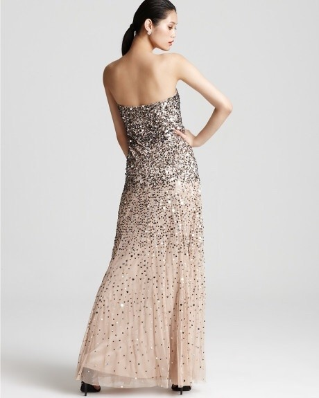 Adrianna Papell Nude/Silver/Gold Gown- Sequin Strapless Dress - 66 ...