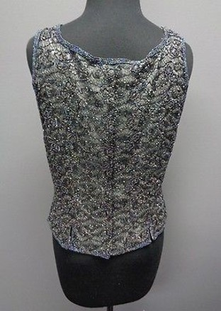 Adrianna Papell Occasions Gray Blue Purple Silk Beaded Blouse Sma1389 free shipping