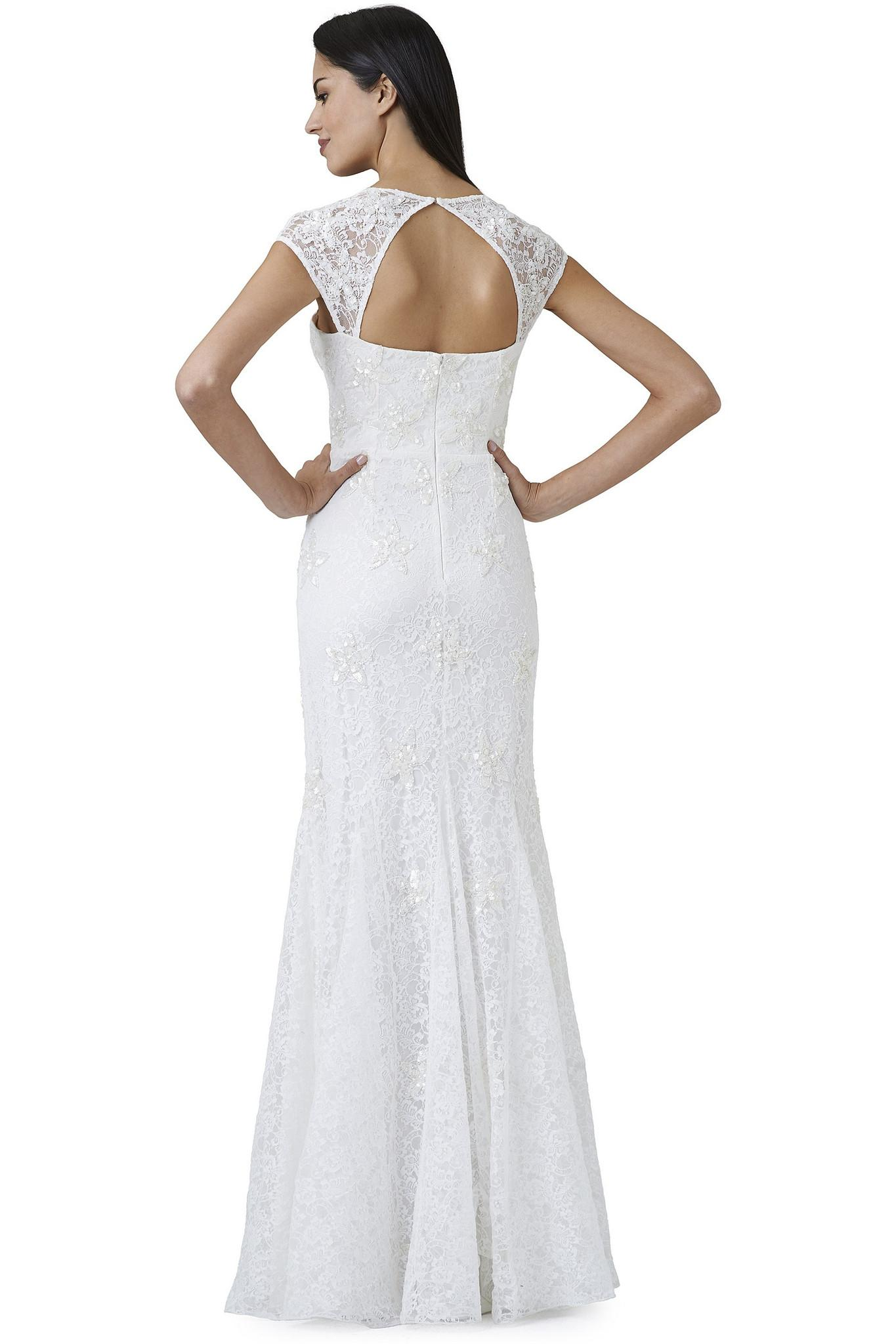 adrianna papell wedding dress papell beaded lace cap sleeve trumpet wedding 1210