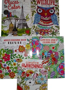Adult coloring books Adult coloring books recreation relaxation hobby craft fun lot great gift set abstract animals flowers etc