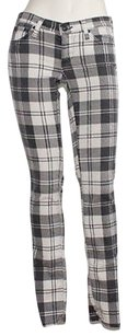 AG Adriano Goldschmied Black White Cotton Blend Plaid 25 Xlnt Skinny Jeans