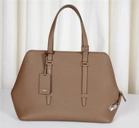 Agnona Rt Leather Cara Tote in Taupe