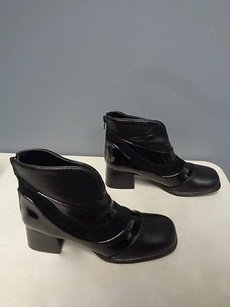 AJ. Valenci Leather Casual Square Toe Ankle W Zip B3379 Black Boots