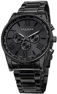 Akribos XXIV Akribos XXIV Men's AK736BK Ultimate Swiss Multifunction Black Stainless Steel Bracelet Watch