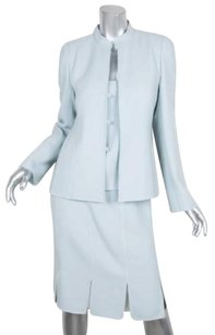 Akris Akris Womens Light Blue Wool 3-piece Jackettopskirt Suit Outfit 6fr