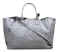 Akris Beige Dark Ostrich Tote in Gray